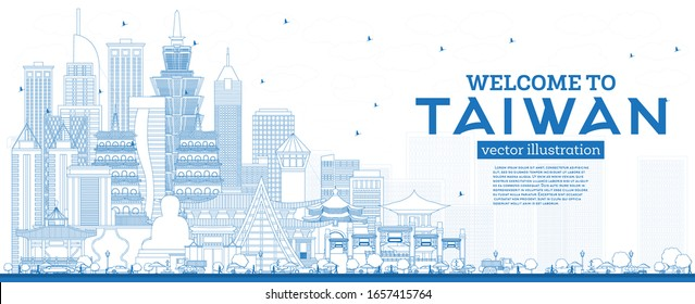 Outline Welcome to Taiwan City Skyline with Blue Buildings. Vector Illustration. Tourism Concept with Historic Architecture. Taiwan Cityscape with Landmarks. Taipei. Kaohsiung. Taichung. Tainan.
