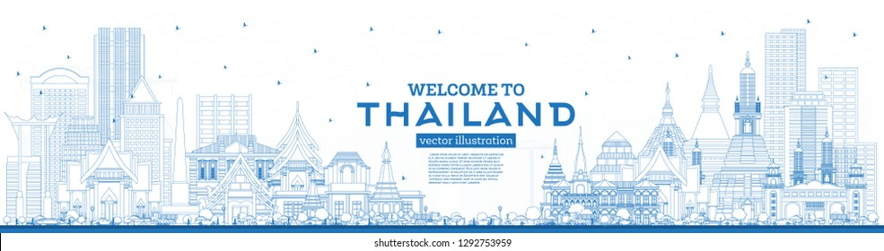 Outline Welcome to Thailand City Skyline with Blue Buildings. Vector Illustration. Tourism Concept with Historic Architecture. Thailand Cityscape with Landmarks.