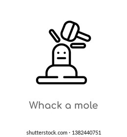 outline whack a mole vector icon. isolated black simple line element illustration from entertainment concept. editable vector stroke whack a mole icon on white background