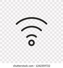 Outline Wifi icon. Vector illustration style is flat iconic symbol, black color, transparent background. Designed for web and software interfaces. Editable stroke. Eps10
