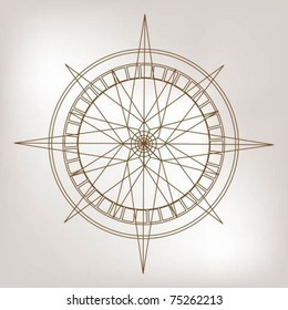 Outline wind rose compass