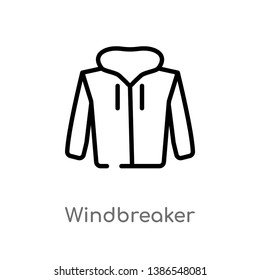 outline windbreaker vector icon. isolated black simple line element illustration from clothes concept. editable vector stroke windbreaker icon on white background