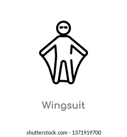 outline wingsuit vector icon. isolated black simple line element illustration from camping concept. editable vector stroke wingsuit icon on white background