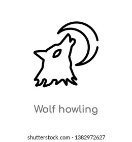 outline wolf howling vector icon. isolated black simple line element illustration from general concept. editable vector stroke wolf howling icon on white background