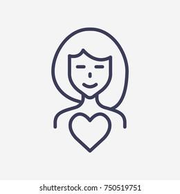 Outline-Frau in der Liebe Symbol-Vektorsymbol