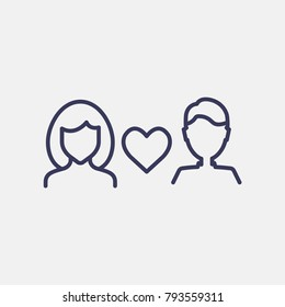 Outline woman and man valentines day love icon illustration isolated vector sign symbol