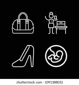 Outline women icon set such as woman suffrage, pregnancy, heels