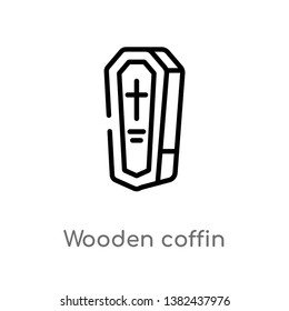outline wooden coffin vector icon. isolated black simple line element illustration from desert concept. editable vector stroke wooden coffin icon on white background