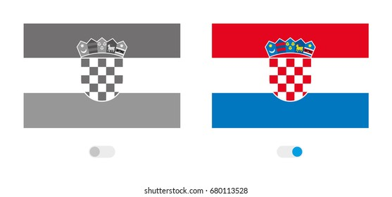 An Outline of the World with the Flag of  Croatia