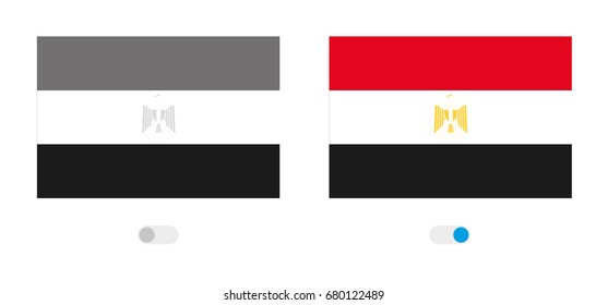 An Outline of the World with the Flag of  Egypt