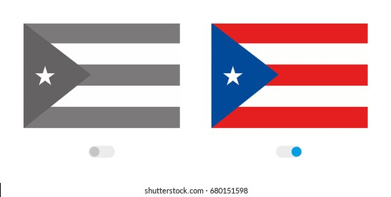 An Outline of the World with the Flag of  Puerto Rico