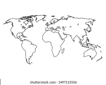 Outline world map. Graphic sketch doodle style. Vector line art