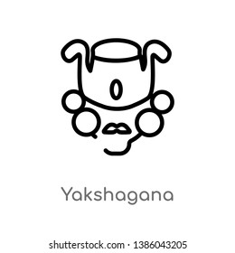 outline yakshagana vector icon. isolated black simple line element illustration from india concept. editable vector stroke yakshagana icon on white background