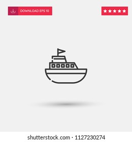 Outline Yatch Icon isolated on grey background. Modern simple flat symbol for web site design, logo, app, UI. Editable stroke. Vector illustration. Eps10
