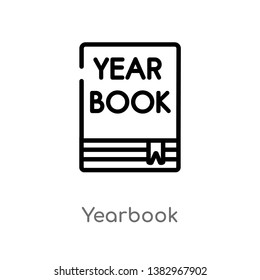 outline yearbook vector icon. isolated black simple line element illustration from general concept. editable vector stroke yearbook icon on white background