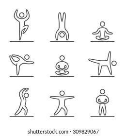 Outline yoga icons set. Linear figure yogis. Line art sport symbols