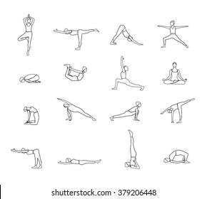 Outline Yoga poses set. Set of Yoga poses line silhouette.  Line Woman of yoga poses. Set of linear Yoga poses icons. Pilates poses set. Set of  Line Pilates woman.