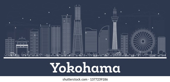 Outline Yokohama Japan City Skyline with White Buildings. Vector Illustration. Business Travel and Concept with Modern Architecture. Yokohama Cityscape with Landmarks.