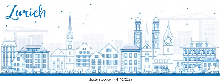 Outline Zurich Skyline with Blue Buildings. Vector Illustration. Business Travel and Tourism Concept with Zurich Historic Buildings. Image for Presentation Banner Placard and Web.