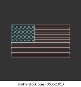 Outlined American flag - vector illustration