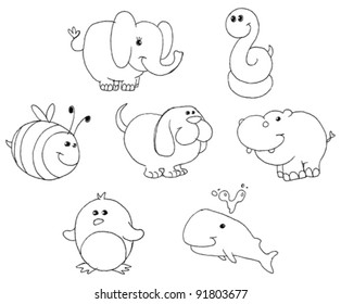 25+ Mixed Up Animal Pictures Clipart Black And White