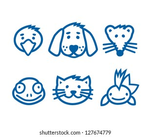 Outlined animal, pets icon set, vector illustration.