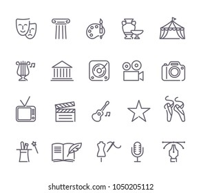 Outlined arts and entertainment icon set in a white background