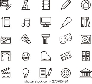 Outlined ARTS & ENTERTAINMENT icon set in a white background