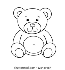 Outlined bear toy vector illustration. Isolated on white.