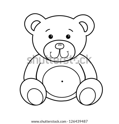 Outlined Bear Toy Vector Illustration Isolated Stock Vector Royalty