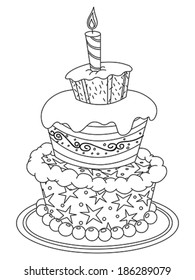 outlined birthday cake vector illustration 260nw