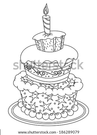 Outlined Birthday Cake Vector Illustration Coloring Page