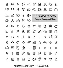 Outlined Business and Finance Icon Set Collection
