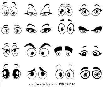Outlined cartoon eyes set