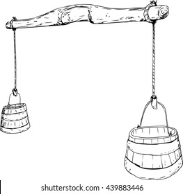 Outlined cartoon sketch of 18th century carved wooden yoke with rope holding two large buckets for carrying water