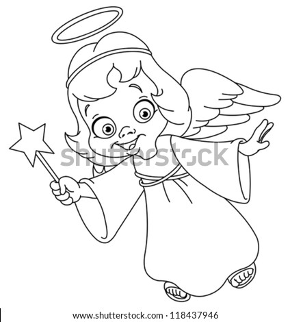royalty free christmas coloring pages   Outlined Christmas Angel Coloring Page Stock Vector ...