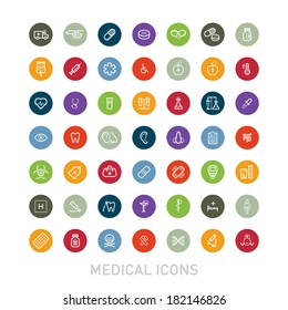 Outlined Colorful Medical Icons Set Collection