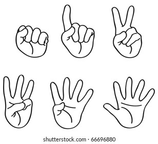 Outlined counting fingers