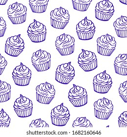 Outlined cupcakes on white background. Seamless vector pattern. Food, desserts and sweet theme.