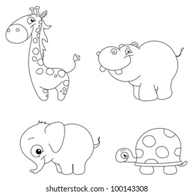 Outlined cute animal set: giraffe, hippopotamus, elephant and turtle