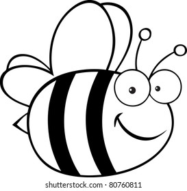 Outlined Cute Cartoon Bee.Vector illustration