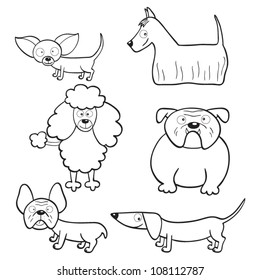 Outlined cute cartoon dogs for coloring book
