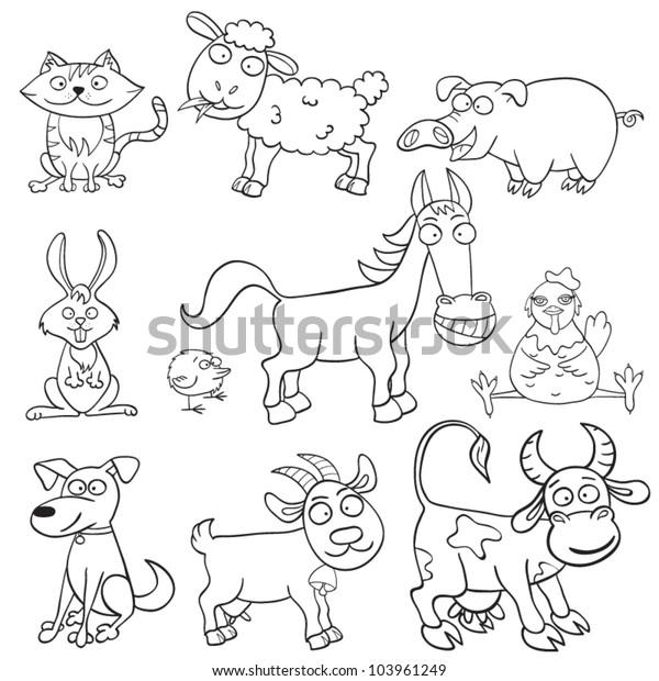 Vector De Stock Libre De Regalias Sobre Animales De Granja De