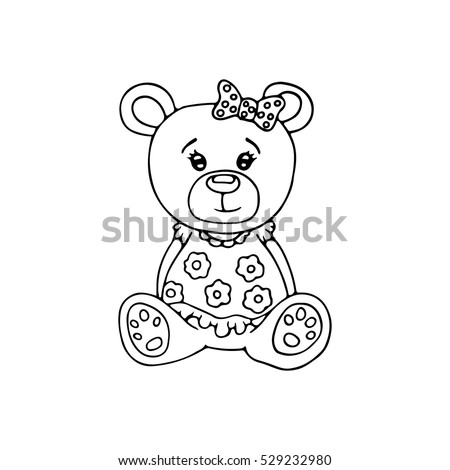 Outlined Cute Teddy Bear Coloring Page Stock Vector Royalty Free