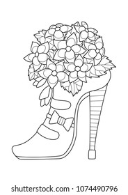 Outlined doodle anti-stress coloring book page shoe with flowers. For adults and children