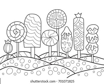 Outlined doodle anti-stress coloring book page sweet caramel forest. For adults and children
