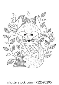 Outlined doodle anti-stress coloring book page cute fox with cup of tea. Coloring book page for adults and children.