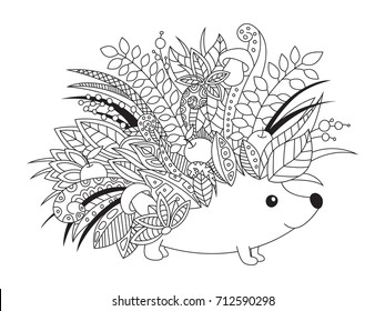 Outlined doodle anti-stress coloring book page cute floral hedgehog. Coloring book page for adults and children.