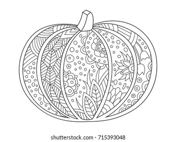 Outlined doodle anti-stress coloring book page pumpkin . Coloring book page for adults and children.