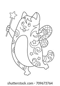 Outlined doodle anti-stress coloring cute fox. Coloring book page for adults and children
